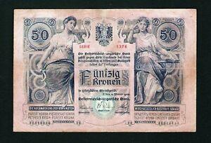 Austria Hungary Österreich - 50 Kronen Korona 1902 Pick #6. Crispy paper. Rare !