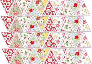 40/80 Edible Bunting Flags Vintage Floral Icing Sheets Cake Cupcake Toppers Baby