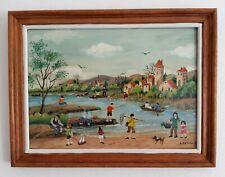 "Charlotte Julian - "" Les pêcheurs du château "" - Art Naïf - Tableau  original -"