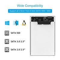 2.5 inch SATA USB 3.0 HDD Hard Drive External Enclosure SSD Disk Box Case w/ LED