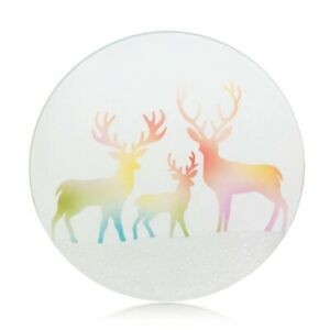 New Yankee Candle Rainbow Reindeer Candle Tray - Glass Plate - Pillar, votive