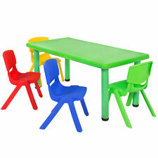 Multicolored Kids Plastic Table And 4 Chairs Set Furniture Play Fun School Home