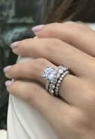 3.50Ct Round Cut D/VVS1 Diamond Engagement Wedding Ring Set 14k Real White Gold