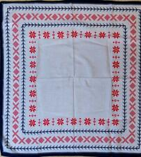 HEMSEDAL TRADITIONAL NORWAY DESIGN COTTON MOUSSELINE SQUARE SCARF RED WHITE BLUE