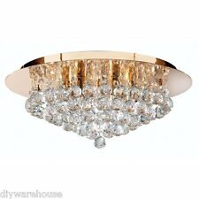 Searchlight 3406-6GO Hanna Gold Finish 6 Lamp Flush Ceiling Light Crystal Balls