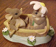 "Gorgeous, Fitz & Floyd Mice ""Charming Tails"" ""Rowboat Romance"" Figurine V. Good"