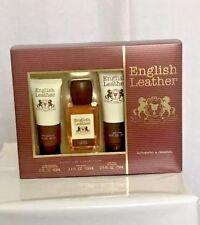 Dana English Leather Cologne Christmas 3pc Gift Set Men Body Splash Aftershave
