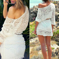 Boho Women's Bikini Swimwear Cover Up Lace Crochet Beach Dress Summer Mini Dress