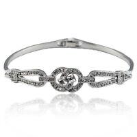 14k white Gold plated crystals solid bracelet bangle with Swarovski elements