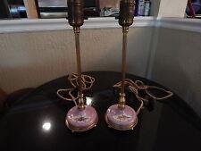 Pair of Antique Pink Porcelain Gilt / Floral Brass Petite Lamps-Boudoir- Germany