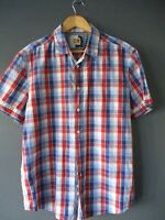"HUGO BOSS SHIRT ""CLIFF-I"" (XL-REGULAR-42"") RED/BLUE CHECK COTTON SHORT-SLEEVE -"