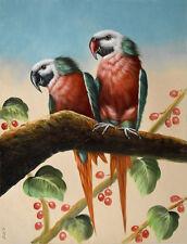 Original oil painting - PARROTS & BERRY TREE  Christian Petit - 42x32 cm
