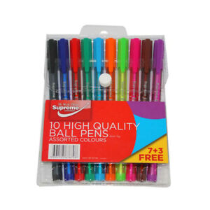 Supreme 10 Pack Assorted Bright Colour High Quality Ball Point Pens - Set of 10