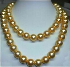"36"" NATURAL 10-9MM SOUTH SEA GOLDEN PEARL NECKLACE  14K GOLD CLASP"