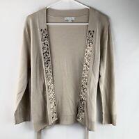 New York & Company Tan Long Sleeve Button Up Rhinestones Cardigan Womens Size M