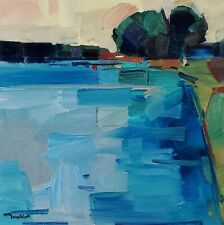 JOSE TRUJILLO Impressionism OIL PAINTING RIVER LANDSCAPE MODERN ORIGINAL ARTIST