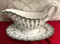 VTG Spode Bone China England Gravy/ Saucer Boat With Stand Silver Printed Decor