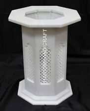 """28""""H 15"""" Dia White Marble Stand Table Top Base Hand Carved Home Decor E552B"""