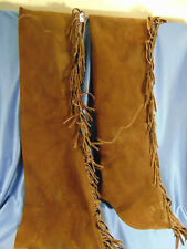 "Western styled Chaps brown suede fringed zipper leg closures adjustable 47"" leg"