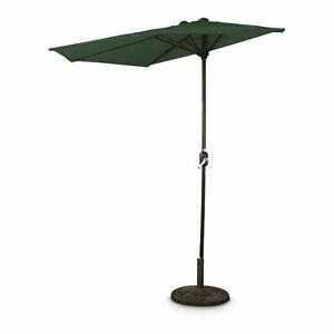 CASTLECREEK 8 Foot Half Round Outdoor Polyester Hand Crank Patio Umbrella, Green