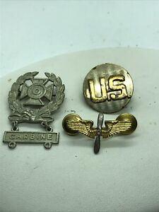 EARLY WW2 US Army Air Force Enlisted Collar Brass Insignia Disc Wings screwbacks