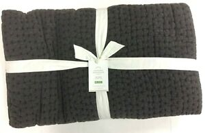 Pottery Barn Pickstitch Hand crafted cotton lined Bed Quilt full queen SHALE GRY