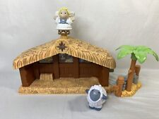 Fisher Price Little People Christmas Music Nativity Stable Palm Tree Sheep Angel