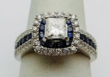 AMAZING Solid 14k White Gold / Sapphires / Diamonds Ladies Ring * 1.25 CT TWT *