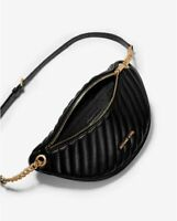 NWT Michael Kors Peyton Large Quilted Belt Bag Waist Bag Crossbody BlackGold