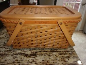 LONGABERGER FOUNDERS MEDIUM MARKET BASKET WITH LID,PROTECTOR FAMILY SIGNATURES