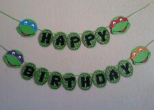 Teenage Mutants Ninja Turtle HAPPY BIRTHDAY banner. free shipping usa