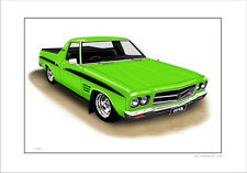 HOLDEN  HQ  SANDMAN UTE LIMITED EDITION CAR DRAWING  PRINT  ( 6 CAR COLOURS)