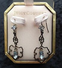 Juicy Couture New Boxed Delicate Silver Drop Earrings With Diamante (Pierced)