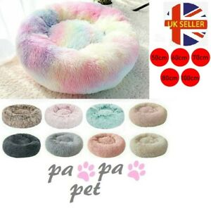 S-3XL Pet DogCat Calming Bed Warm Bed Fluffy Comfy Shag Nest Mattress Donut Pad