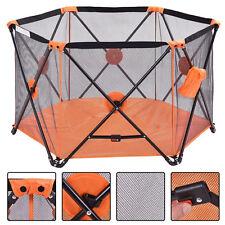 Baby Playpen Playard Portable Folding Outdoor Indoor Safety Free Standing Orange