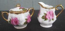 Vintage Miniature Creamer & Sugar Bowl Set Floral Pink Roses w/ Gilt Japan