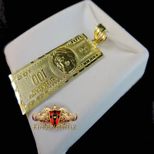 Mens Womens 10k Yellow Gold Hundred Dollar Bill Money Charm 1.75 Inch 3.9 Gram