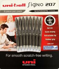 8 X Uni Ball Uniball Signo 207 Black GEL Ink Retractable .7 Mm Pen Made in Japan