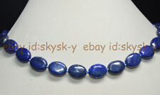 """Natural Blue Egyptian Lapis Lazuli Gemstone 13x18mm Oval Beads Necklace 18"""" AAA"""