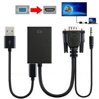 With Audio Output VGA Male To HDMI Female Video Cable Converter Adapter Cable