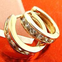 HUGGIE HOOP EARRINGS REAL 18K ROSE GOLD G/F DIAMOND SIMULATED DESIGN FS3A008