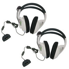 2x White Live Headset Headphone MIC for Xbox 360 Elite Slim Wireless Controller