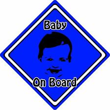 Baby/Child On Board Car Sign ~ Baby Face Silhouette ~ Neon Dark Blue