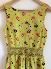 Topshop Mustard Yellow Floral Cotton Fit And Flare Dress 10 Button Back Crochet