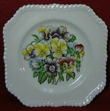 """JOHNSON BROTHERS china OLD FLOWER PRINTS - 4 Square Salad Plates - Chips 7-5/8"""""""