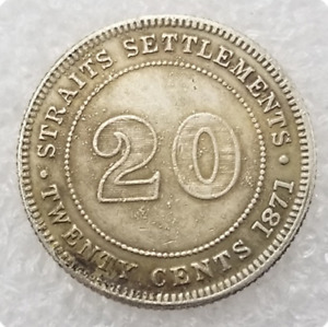 CA 1871 VICTORIA QUEEN SETTLEMENTS STRAITS TWENTY CENTS COMMEMORATIVE COIN