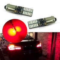 2pcs Red Error Free 24-SMD 120° Bay9s H21W 64136 Car Auto LED Light Bulbs Lamps