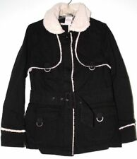 Edge Womans Sz Lg (12) Cloth Black Belted Jacket with Faux Fur Collar and Trim
