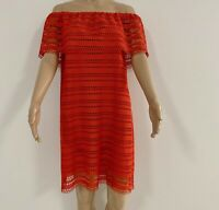 Witchery Red Candy Colour Off The Shoulder Dress Lace Size 10