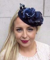 Navy Blue Berry Flower Pillbox Hat Fascinator Races Wedding Hair Clip 3725